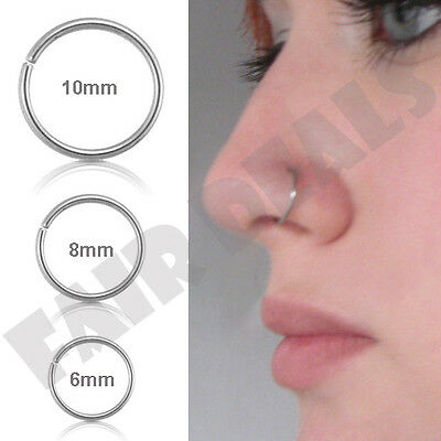 Small Thin 6mm 8mm 10mm Eyebrow Nose Ear Steel Silver Stud Hoop Piercing Ring