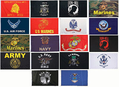 Rothco 3' x 5' Polyester Military ARMY USMC AIR FORCE NAVY SEALS POW Flags