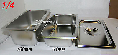 Stainless Steel Bain Marie Tray Pan GN 1/4 100mm deep for Gastronorm