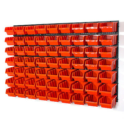 Set of 63 M size IN-Box storage bins and wall mounted louvre