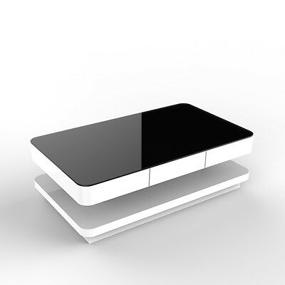New White Coffee Table With  Black Tempered High Gloss Glass