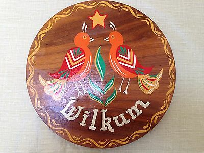 VINTAGE HAND PAINTED WOOD DUTCH WELCOME WILKUM SIGN - PA DUTCH HAND CRAFTED