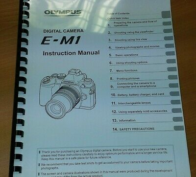 Olympus E-M1 Digital Camera Printed Instruction Manual User Guide 165 Pages