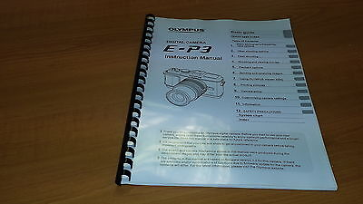 Olympus E-P3 Digital Camera Printed Instruction Manual User Guide 127 Pages