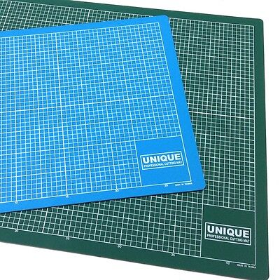 Cutting mat A2 professional Unique, 5 ply, 3mm, green / blue sides, gridded 5mm