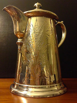 """JAs. STIMPSON Antique 1854 Large Triple Plated Silver Pitcher, 13"""" in Height"""