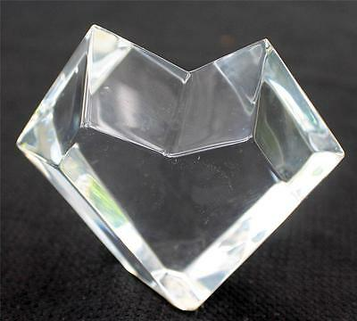 """Vintage Signed BACCARAT France Crystal Cut BLOCK HEART Shape 3""""h Paperweight"""