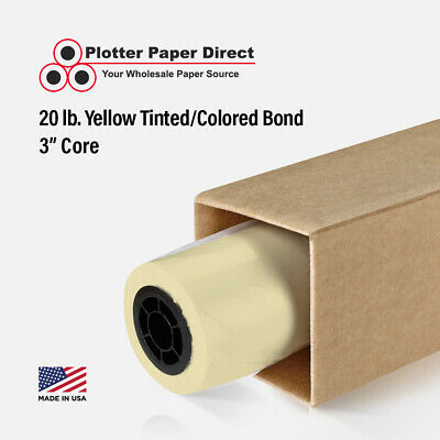 "4 Rolls 36"" x 150' 20lb Yellow Colored Bond Plotter Paper for Wide Format Inkjet"
