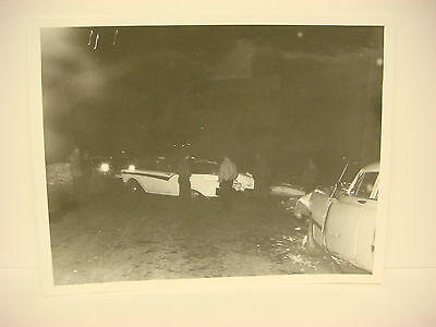 VINTAGE CAR WRECK Photo NH Accident Scene 1957 Front End