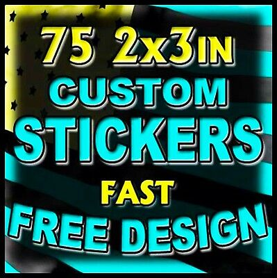 75 2x3 Custom Printed Full Color Outdoor Vinyl Business Logo Sticker Decal Label