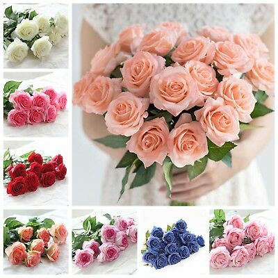 20Head Latex Rose Flowers Real Touch Fake Leaves Wedding Bouquet Home Decoration