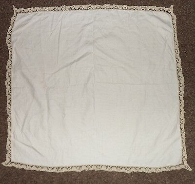 VINTAGE linen table cloth small lace edge 39 x 35 inches