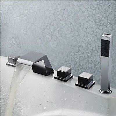 Waterfall Bathroom Tub Faucet Chrome Widespread Mixer Tap with Hand Shower