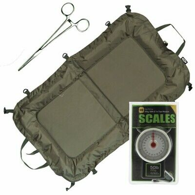 Beanie Unhooking Mat with Forceps and Scales Measures 110 x 60 Carp Fishing