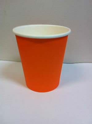 100set 12 oz Orange Single Wall Disposable Paper Coffee Cups & Lids