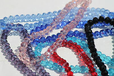 Faceted Rondelle Crystals Beads Various colours and sizes