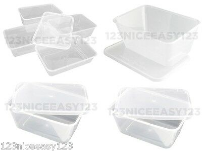 PLASTIC FOOD CONTAINERS(1000ml)Takeaway Tubs for Microwave Freezer Fridge Large