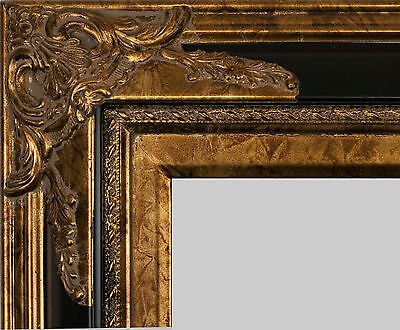 "PICTURE FRAME WOOD ORNATE BLACK GOLD FANCY WEDDING PHOTO ART CANVAS 4"" WIDE"
