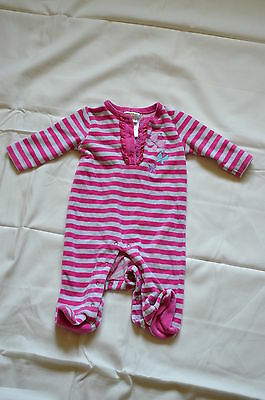 Absorba Footed One-Piece Pink Striped velour Size 3-6 months