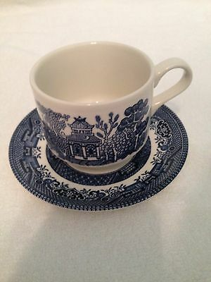 """Churchill """"Willow"""" blue China Large Flat Cup & Saucer Set"""