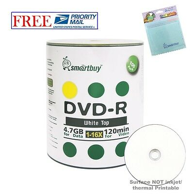 100 Smartbuy DVD-R 16X 4.7GB White Top Blank Media Disc + FREE Micro Fiber Cloth