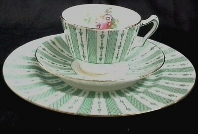 Crown Staffordshire Cup Saucer Plate Trio Green Striped Bone China England