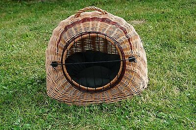 Wicker Pet Carrier Igloo Dog, Cat, Rabbit, Natural HAND MADE with Cushions