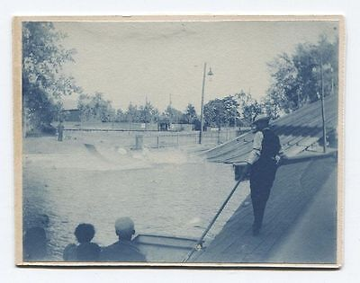 Antique Cyanotype Boating In The Park, Americana.
