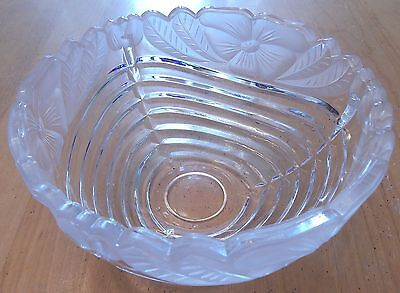 Pressed Glass Bowl Clear + Frosted Floral Pattern
