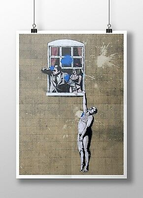 "Banksy - Naked Man Archival Canvas Print 30""x20"""