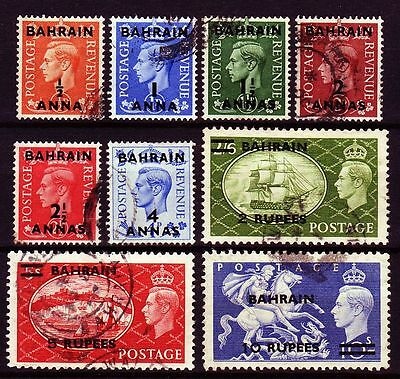 Bahrain 1950 Mi.70/78 SG 71-79 fine used Definitives set ovpt. on GB (g816)