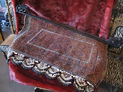 Old Turkish Camel Bag with Shell Decoration... on Carved Ornate Wooden Rod...