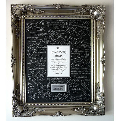 Silver Luxury Wedding Guest Signing Frame – Large Baroque style - Customisable