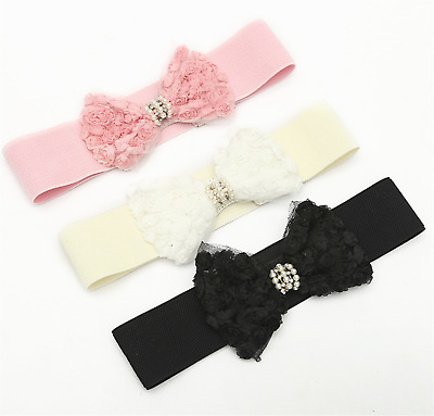 Women Lace Rose Pearl Crystal Bow Elastic Stretchy Dress Waist Band Wrap Belt