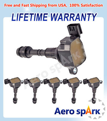 C1406 5C1403 Uf349 Set Of 6 Premium Ignition Coils For Nissan Altima Maxima 3.5