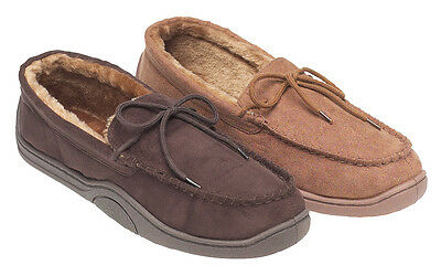 Mens Size 6 - 11 Brown MOCCASIN SLIPPERS Synthetic Suede Upper Light Dark NEW