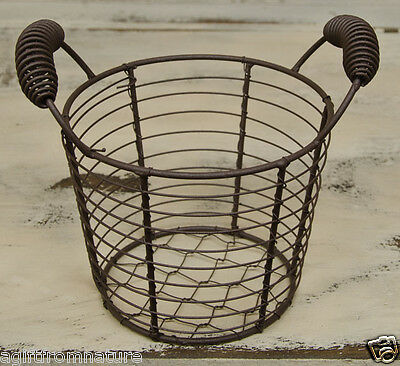 SMALL RUSTIC WIRE EGG BASKET PRIMITIVE COLONIAL COUNTRY AMERICANA SWEET!!