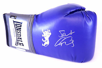 New  George Groves Signed 16oz Blue Lonsdale Boxing Glove