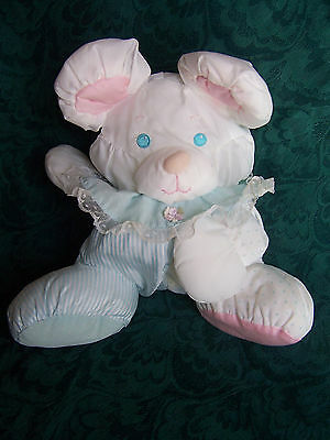 Fisher Price 1988 Pink Blue Puffalump 1356 Bear Mouse Dog Rattle Lovey Plush