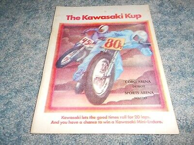 1974 KAWASAKI Kup INDOOR RACE PROGRAM COBO ARENA DETROIT TOLEDO SPORTS ORIGINAL