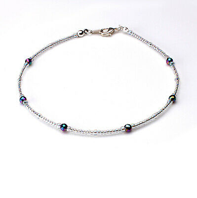 Rainbow Hematite and Clear Seedbead Anklet