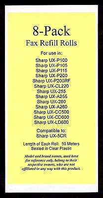 8-pack UX-5CR Fax Refills for Sharp UX-P200 UX-CL220 UX-CC500 UX-CD600 UX-LD600