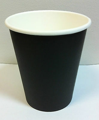 100set 8 oz Black Single Wall Disposable Paper Coffee Cups & Lids