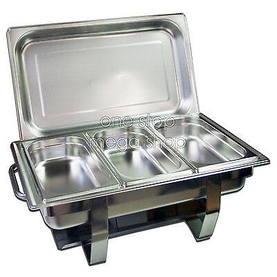 3x3L STAINLESS STEEL BAIN MARIE CHAFING DISH, Bow Stackable Buffet Food Warmer