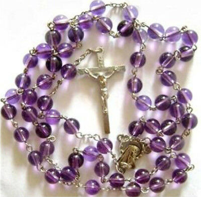 ROSE ROSARY & CROSS Purple Crystal BEADS medal crucifix catholic necklace