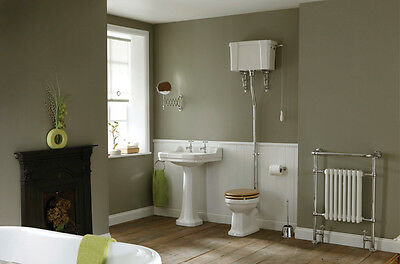 High Level Edwardian Bathrom Suite, Full Toilet with Luxury Seat & Basin Pack