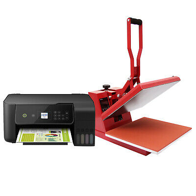 Heat Press Machine T-Shirt Printing Sublimation Vinyl Transfer + Printer Package