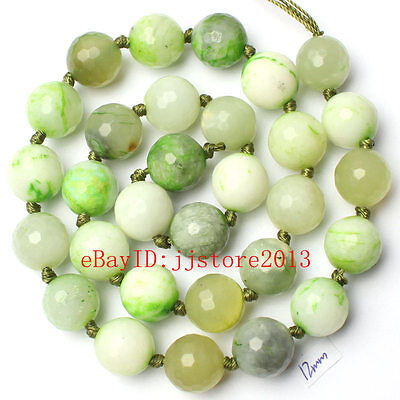 """12mm Natural Green Mixed Jade Faceted Round Shape Gems Loose Beads Strand 15"""""""