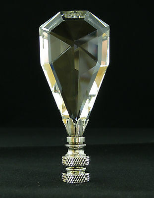 Lamp Finial-Leaded Crystal Lamp Finial***Arctic Ice*** With Satin Nickel Base