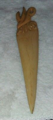 Vintage Hand Carved Wooden Letter Opener Shaped Like a Carrot Dated 4 / 65